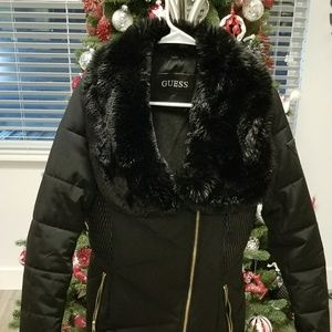 Guess Black Puffer Coat with Faux Fur Collar